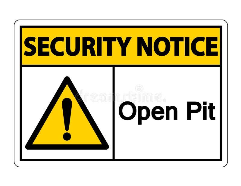 Fond ouvert de Pit Symbol Sign On White d'avis de s?curit?, illustration de vecteur illustration libre de droits