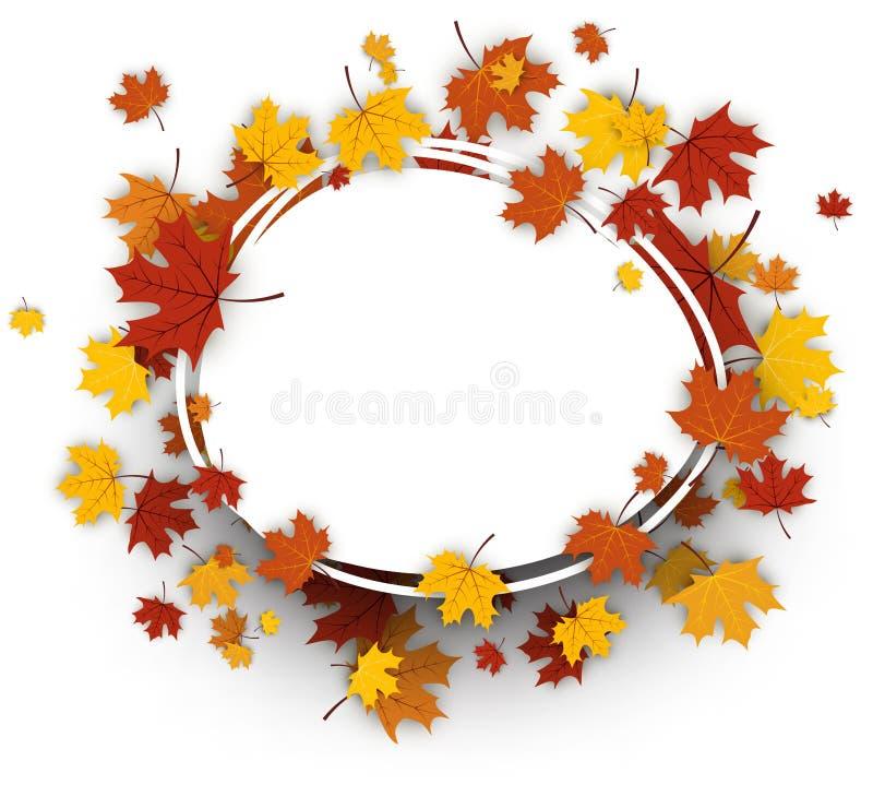 Fond ovale d'automne avec des feuilles d'érable illustration stock