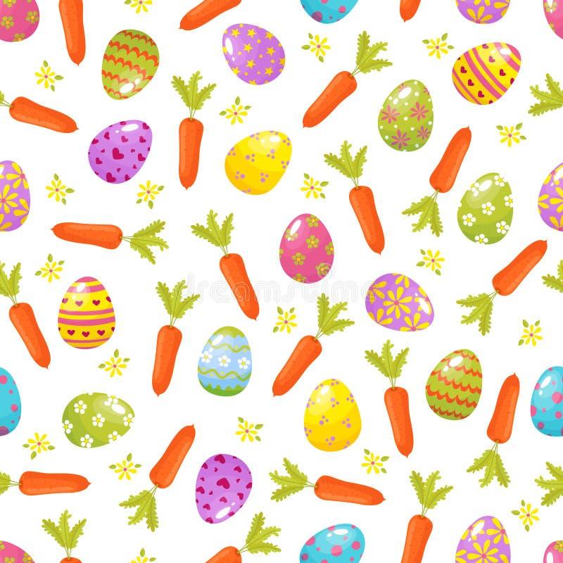fond Pâques sans joint Modèle de vacances religieuses des oeufs colorés, fleurs, carrrots Symboles traditionnels de illustration de vecteur