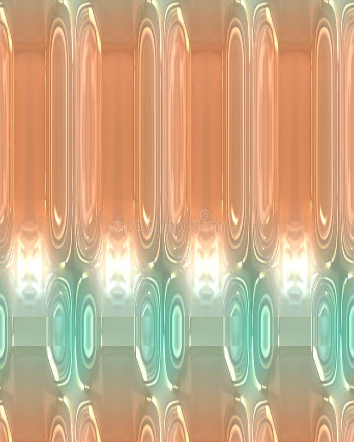 Fond, pêche et turquoise abstraits avec les lumières rougeoyantes et le modèle unique illustration stock