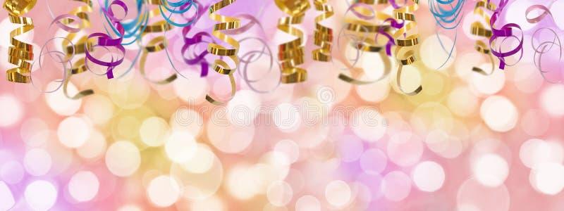 Fond panoramique coloré de vacances avec le ruban et les lumières brouillées de bokeh photo stock