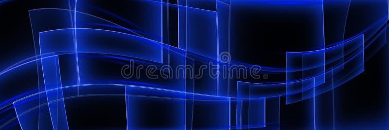 Fond panoramique géométrique de résumé avec les lignes bleues rougeoyantes Place pour le texte illustration de vecteur