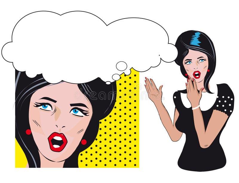 Fond parlant de femme de deux personnes rétro illustration de vecteur
