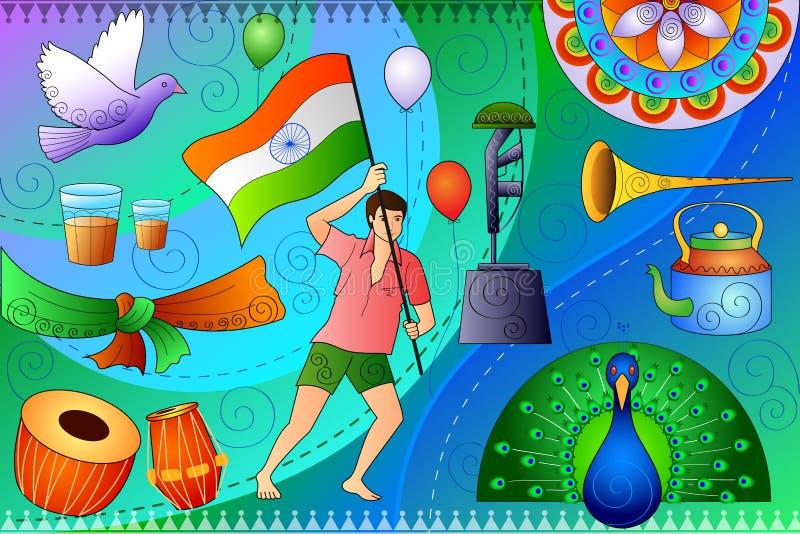 Fond patriotique d'Inde montrant la culture et l'art divers illustration stock