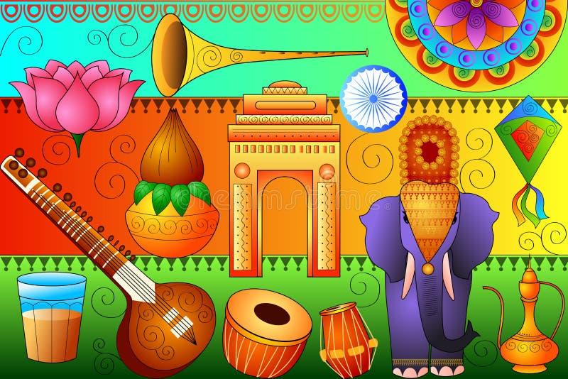 Fond patriotique d'Inde montrant la culture et l'art divers illustration de vecteur