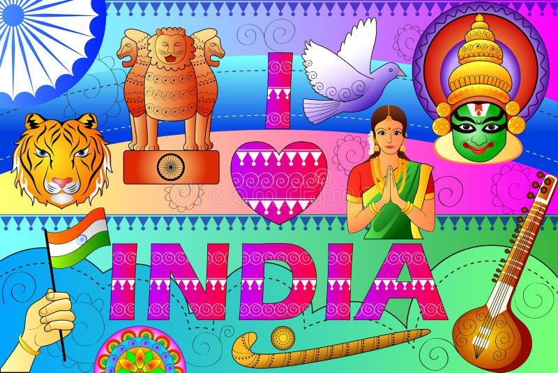 Fond patriotique d'Inde montrant la culture et l'art divers illustration libre de droits