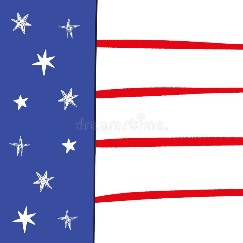 Fond patriotique tiré par la main de drapeau américain Carte postale des Etats-Unis Calibre de conception de Jour de la D?clarati illustration stock