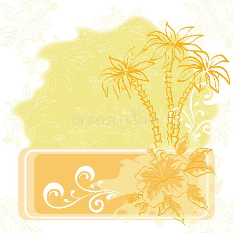 Fond, paume et fleurs exotiques illustration stock