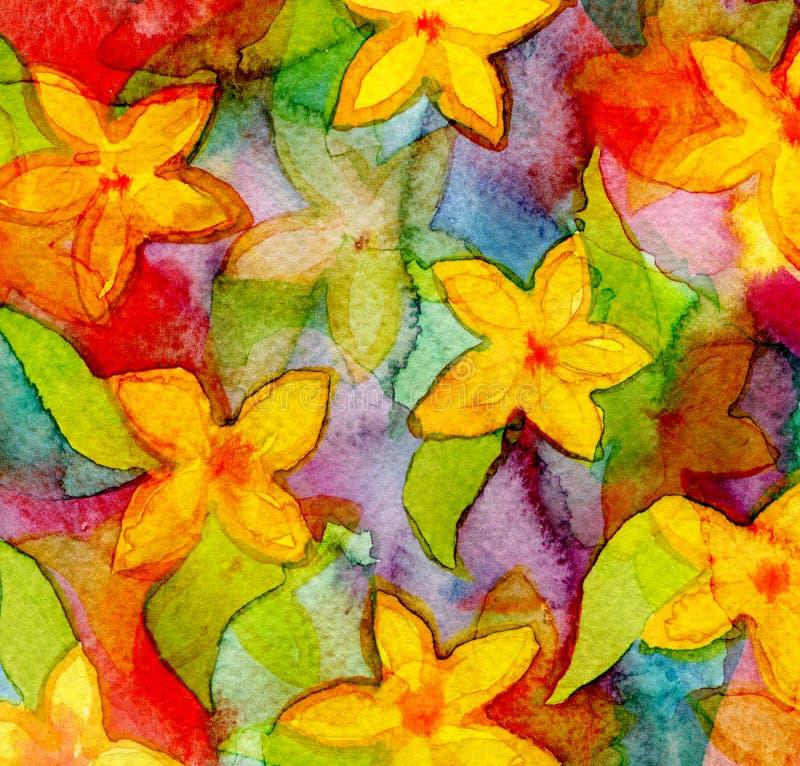 Fond peint à la main d'aquarelle abstraite Configuration de fleur illustration libre de droits