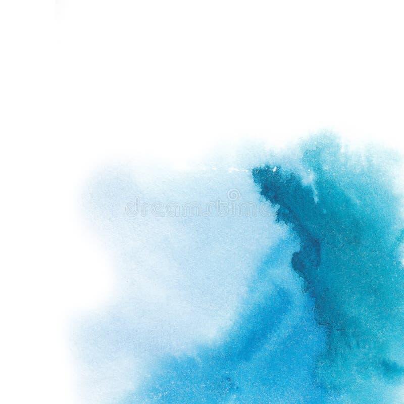 Fond peint à la main d'aquarelle abstraite Endroit bleu Résumé illustration stock