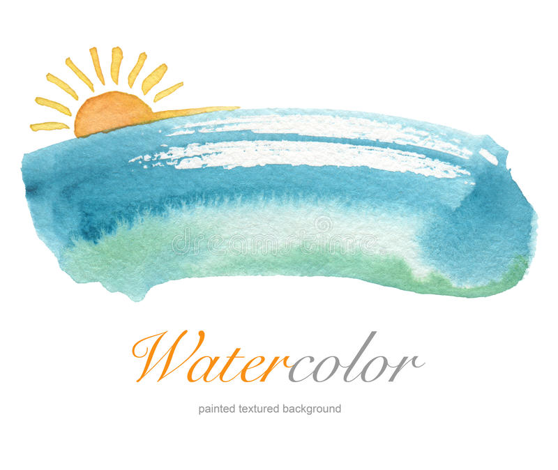 Fond peint à la main d'aquarelle d'été photos stock
