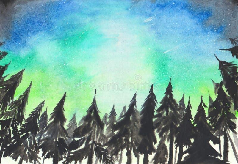 Fond peint à la main d'aquarelle Paysage avec des lumières d'étoile polaire de l'aurore Silhouettes impeccables foncées d'arbres  illustration de vecteur