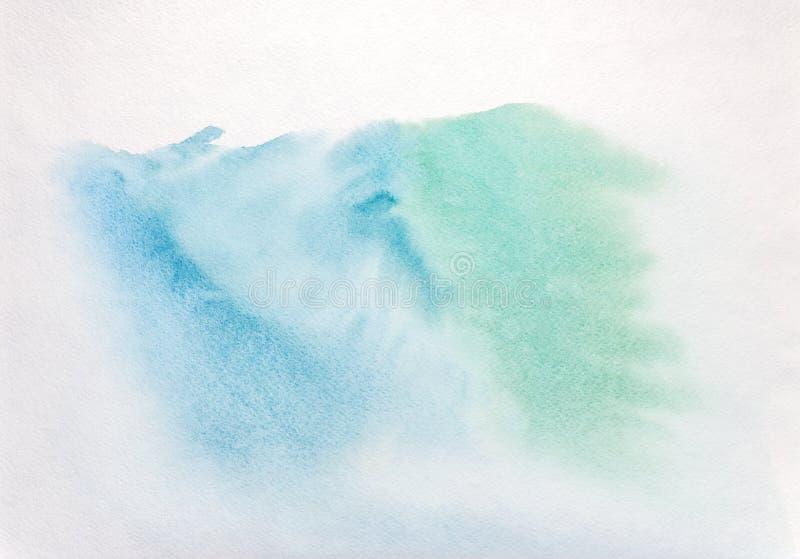 Fond peint à la main de lavage d'aquarelle dans des couleurs bleues et vertes image stock