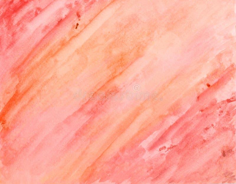 Fond peint à la main de lavage d'aquarelle dans des couleurs roses et oranges illustration de vecteur