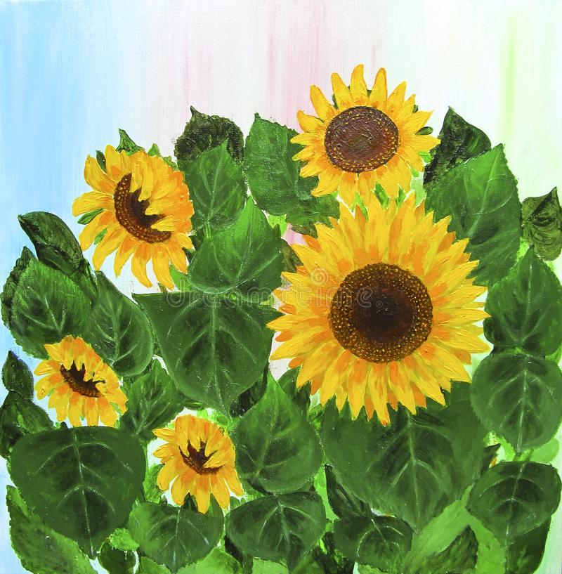 Fond peint ? la main de tournesols de r?sum? photo libre de droits