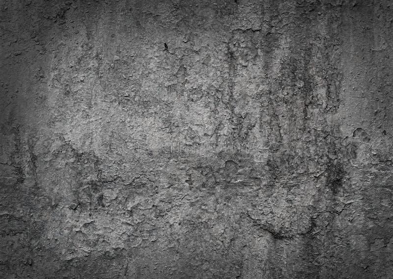 Fond peint endommagé usé de modèle de texture en métal avec l'effet de cadre de vignette Surface grunge gris-foncé de structure d image stock