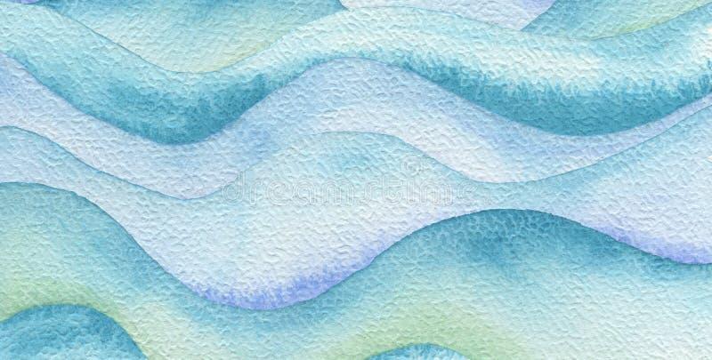 Fond peint par aquarelle abstraite de vague Texture (de papier) froissée illustration de vecteur