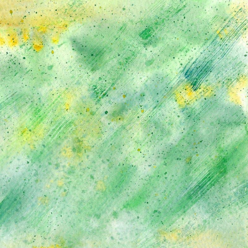 Fond peint par aquarelle verte abstraite illustration stock