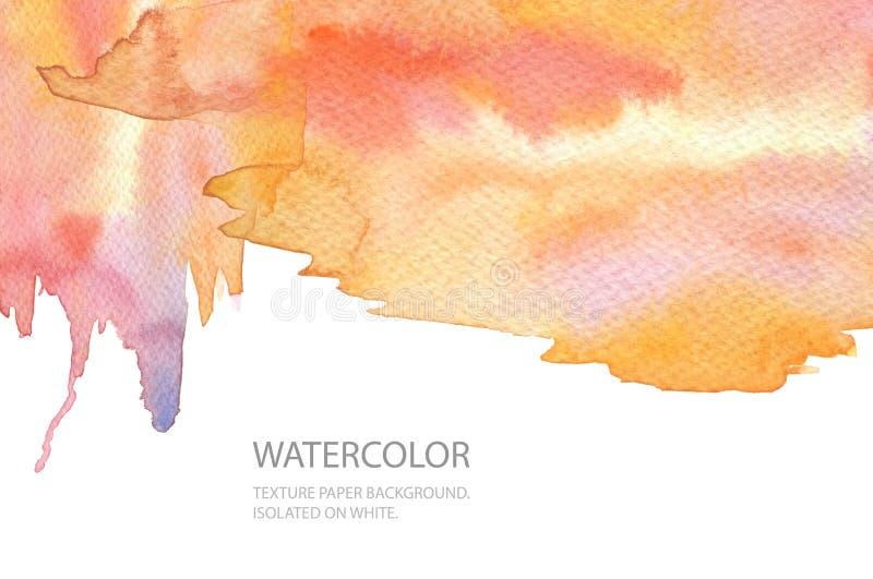 Fond peint par tache abstraite d'aquarelle Donnez au papier une consistance rugueuse Isolant illustration libre de droits