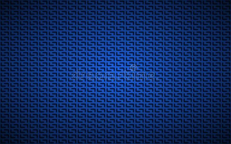 Fond perforé géométrique bleu, papier peint métallique bleu-foncé d'acier inoxydable de résumé illustration de vecteur