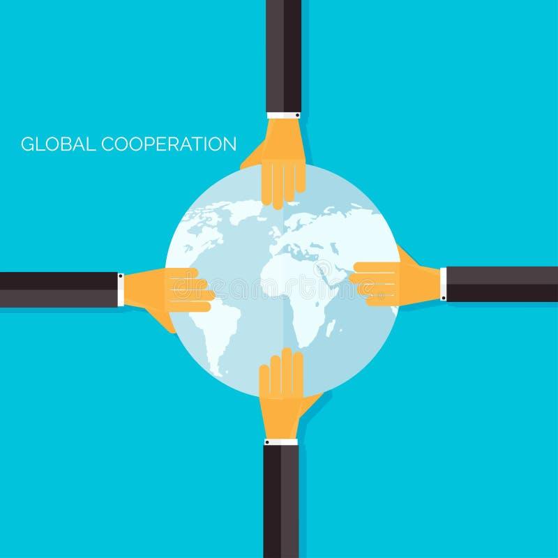 Fond plat avec des mains Coopération et association globales Idée et travail d'équipe d'affaires illustration stock