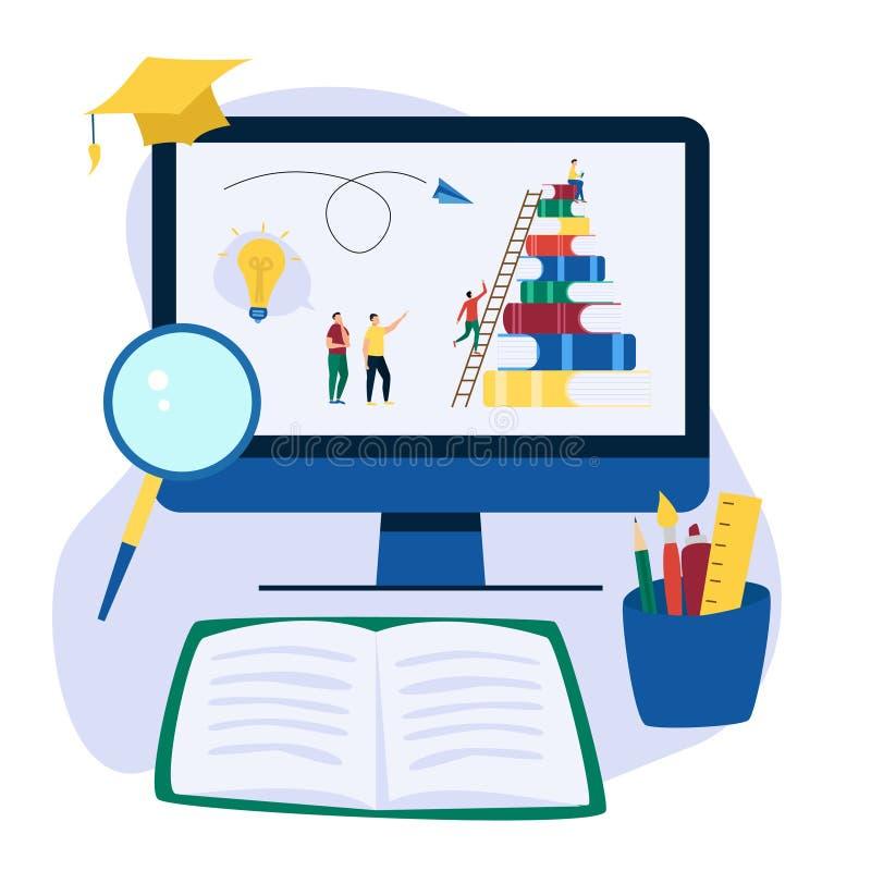 Fond plat d'éducation en ligne avec de grands livres et personnes Les gens lisent le livre et discutent la connaissance illustration de vecteur