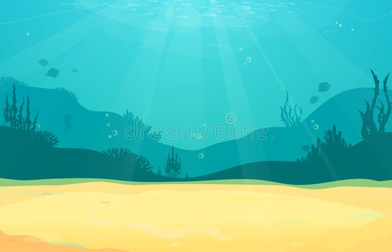 Fond plat de bande dessinée sous-marine avec la silhouette de poissons, sable, algue, corail Vie marine d'océan, conception migno illustration libre de droits