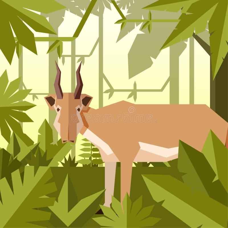 Fond plat de jungle avec l'antilope de Saiga illustration de vecteur