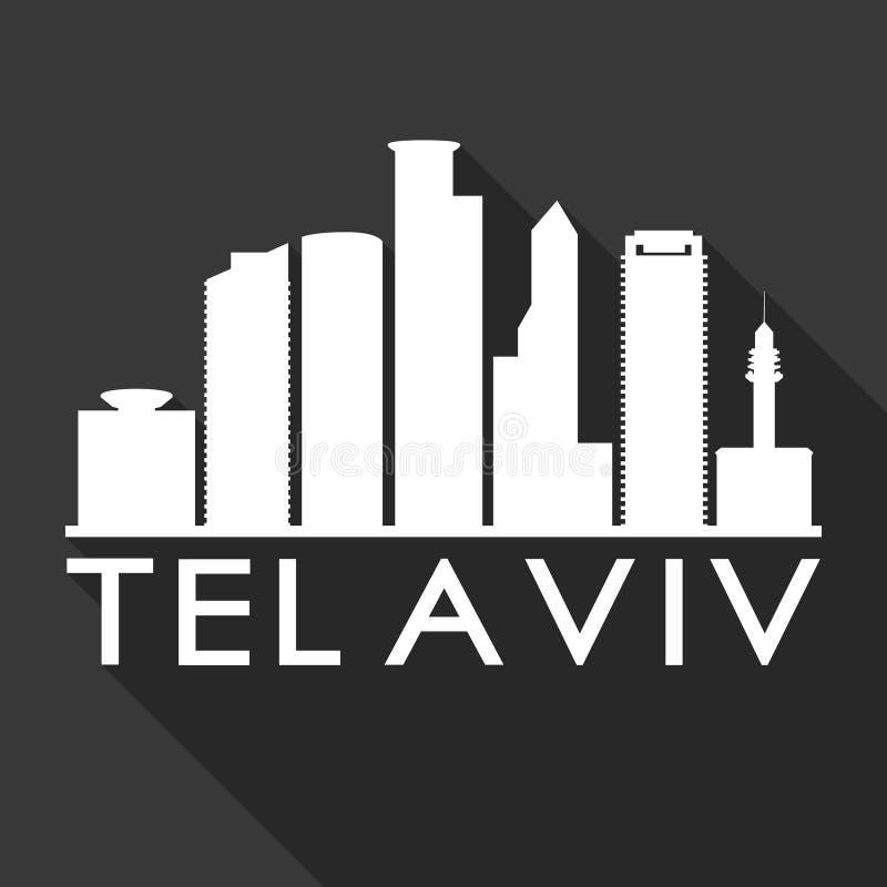 Fond plat de noir de calibre de silhouette de ville d'horizon de conception d'ombre de téléphone Aviv Israel Asia Icon Vector Art illustration de vecteur