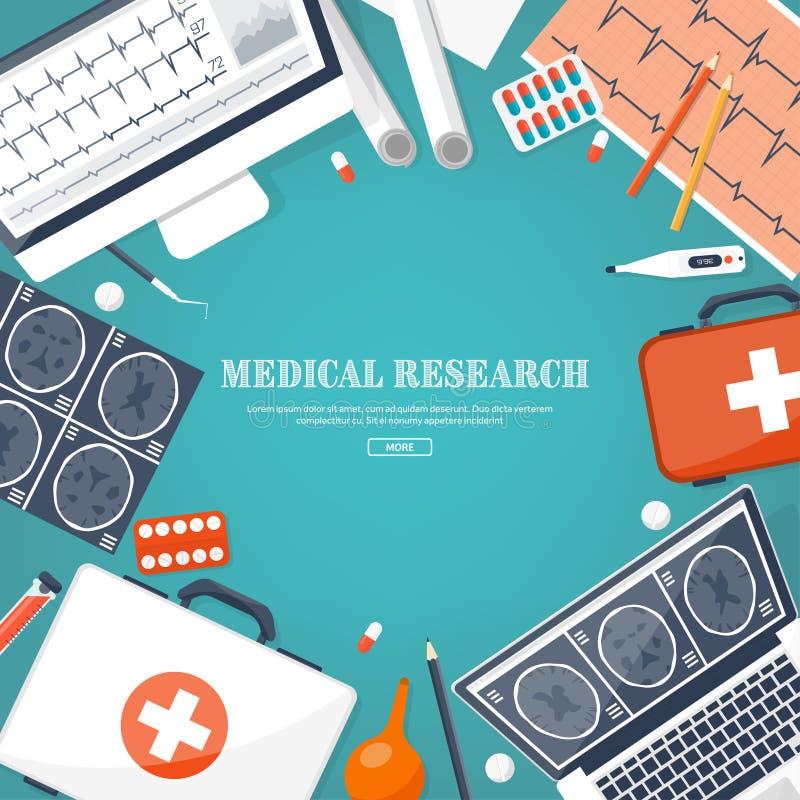 Fond plat médical Soins de santé, premiers secours, recherche, cardiologie Médecine, étude Génie chimique, pharmacie illustration libre de droits