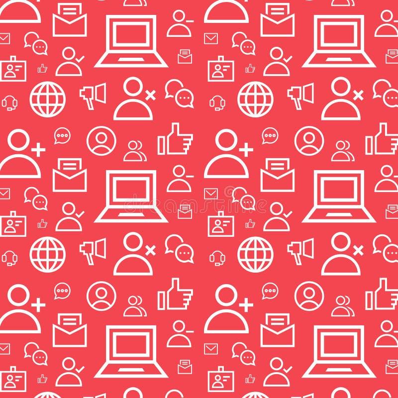 Fond plat sans couture de modèle de vecteur de communication sociale Texture réglée par icônes de réseau illustration libre de droits