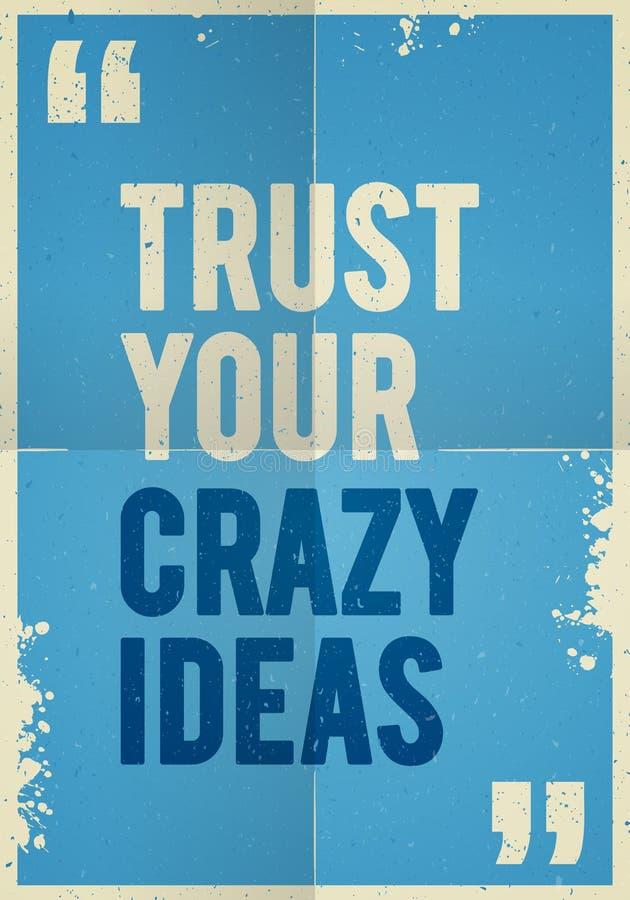 Fond plié coloré d'affiche de cru de vecteur faux avec des citations inspirées de motivation illustration stock