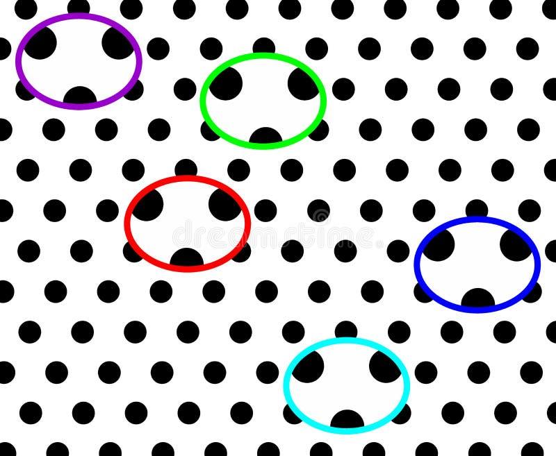 Fond pointillé noir et blanc ayant la conception générée par ordinateur d'illustration de pandas colorés illustration libre de droits