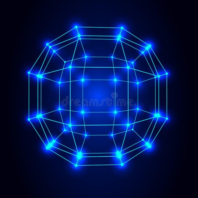 Fond polygonal de maille Portée des lignes et des points illustration stock
