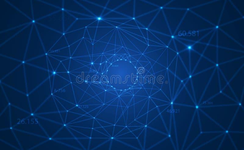 Fond polygonal de vecteur de résumé avec les lignes reliées et les points formant un cercle sur la grande rangée de visualisation illustration stock