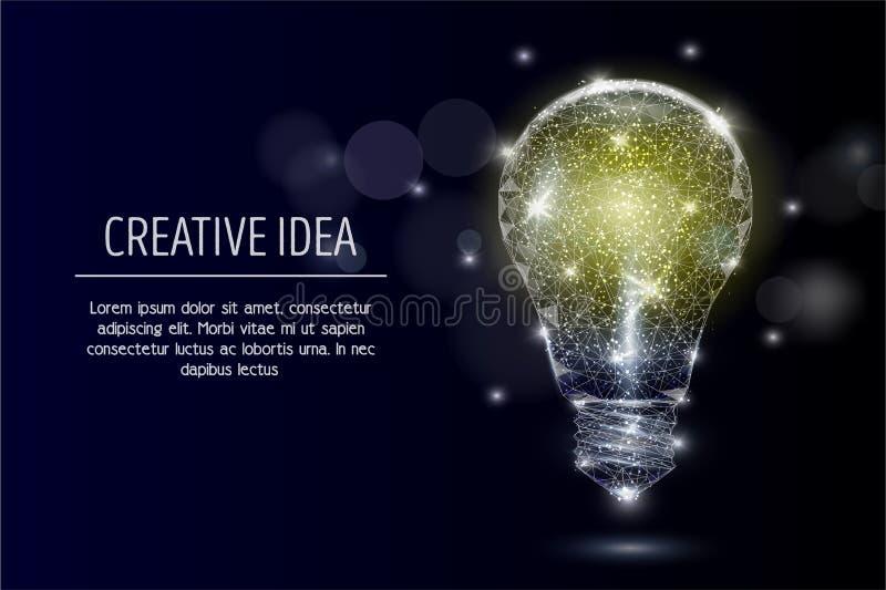 Fond polygonal géométrique électrique de vecteur d'ampoule illustration stock