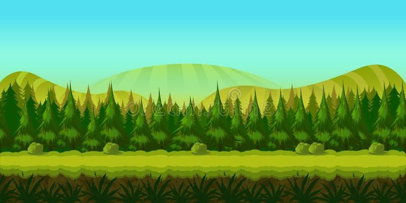 Fond pour vous jeu avec la forêt verte sur le premier plan et les collines et les champs sur le fond illustration de vecteur