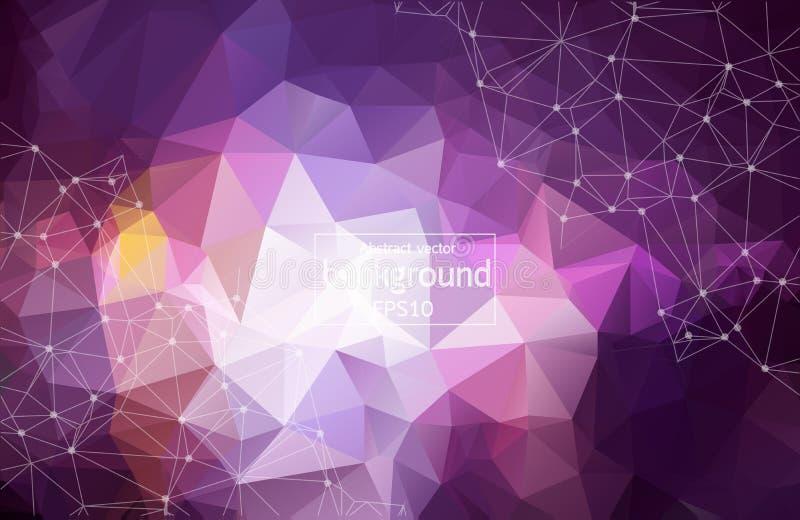 fond pourpre de l'espace 3D polygonal abstrait avec de bas poly points et lignes se reliants lumineux - structure de connexion illustration libre de droits