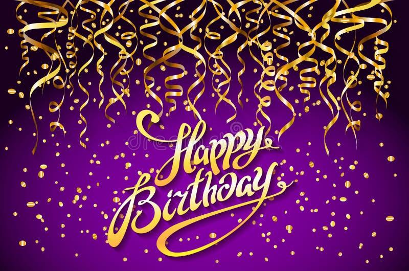 Fond pourpre de partie de vecteur Conception de célébration de joyeux anniversaire, éléments de confettis d'or de vecteur, calibr illustration stock