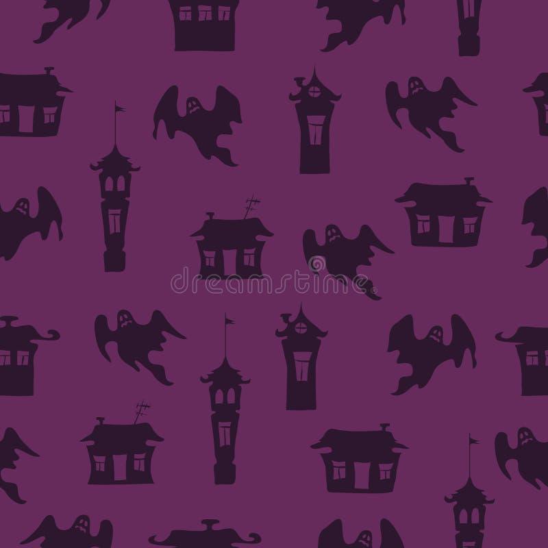 Fond pourpre de vecteur de Halloween avec des fantômes illustration de vecteur