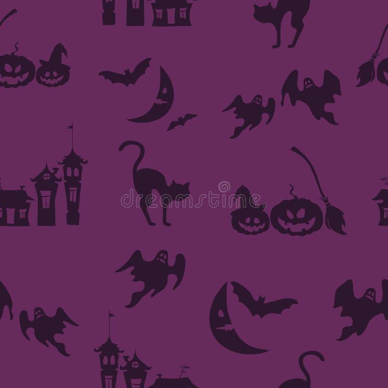 Fond pourpre de vecteur de Halloween avec des fantômes, maisons de griffonnage, potirons illustration stock