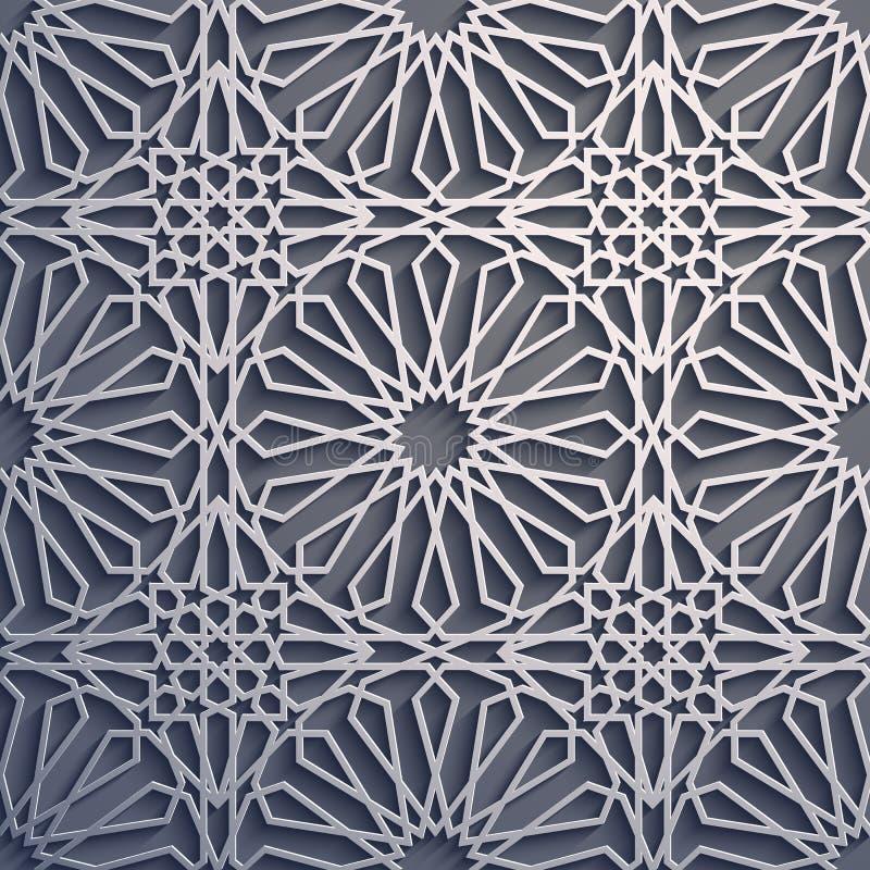 Fond pourpre Vecteur islamique d'ornement, motiff persan éléments ronds islamiques de modèle de 3d Ramadan géométrique illustration libre de droits