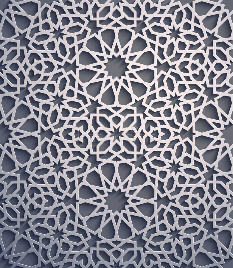 Fond pourpre Vecteur islamique d'ornement, motiff persan éléments ronds islamiques de modèle de 3d Ramadan géométrique illustration de vecteur