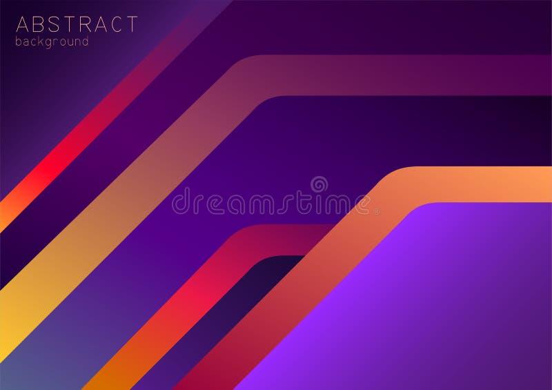 Fond pourpre, violet et rouge-orange abstrait avec 3d le chevauchement, effet au néon illustration stock