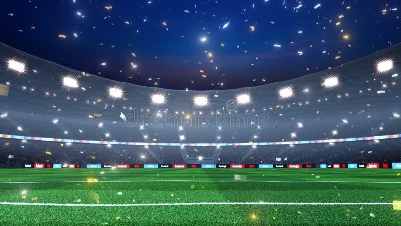 Fond professionnel de stade de football de soirée image stock