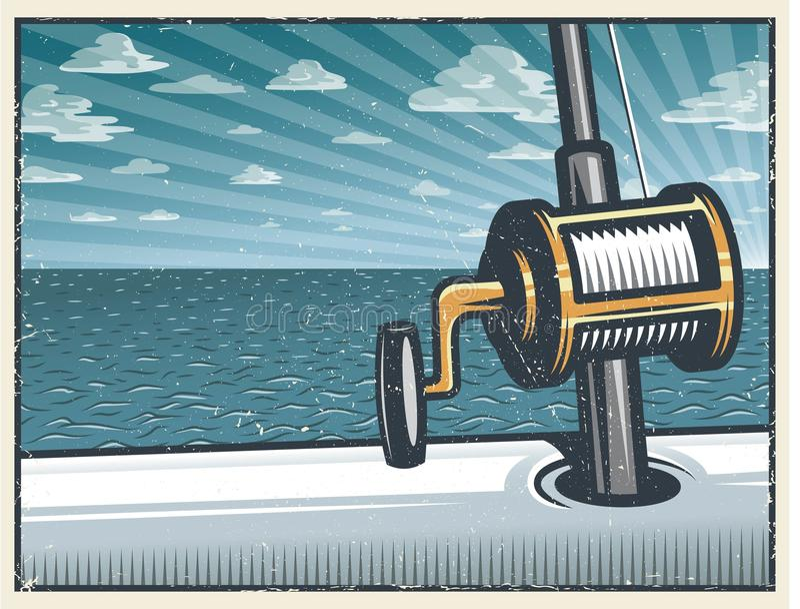 Fond profond de pêche maritime de vintage illustration stock