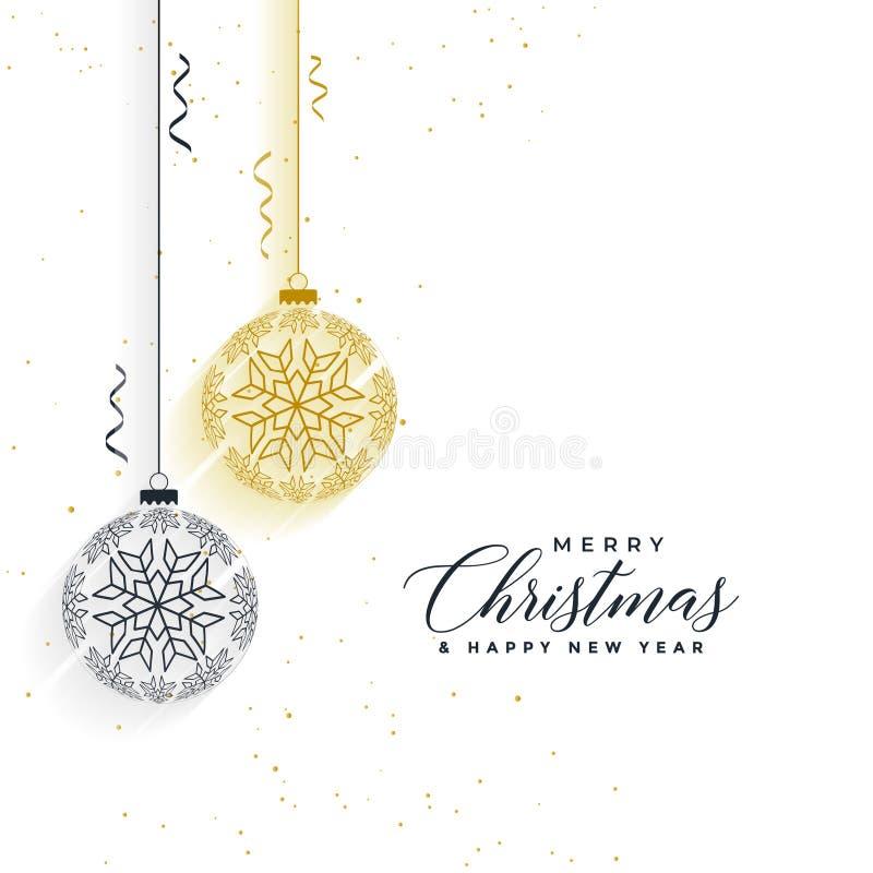 Fond propre de boules de flocons de neige de Joyeux Noël illustration de vecteur