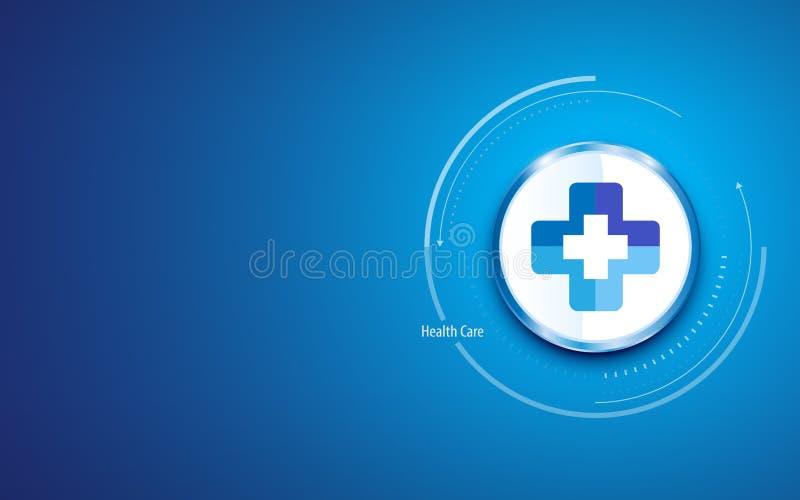 Fond propre de conception de soins de santé avec le bouton croisé médical de cercle de symbole de docteur de clinique d'hôpital illustration de vecteur