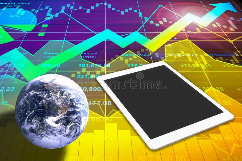 Fond puissant et d'impact d'indice des actions de données d'analyse illustration stock