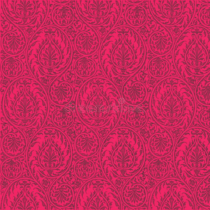 Fond qu'on peut répéter de rose chaud de configuration de Paisley illustration de vecteur